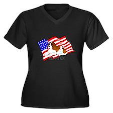 Beagle USA Women's Plus Size V-Neck Dark T-Shirt