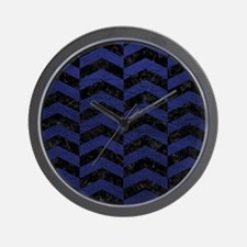 CHEVRON2 BLACK MARBLE & BLUE LEATHER Wall Clock