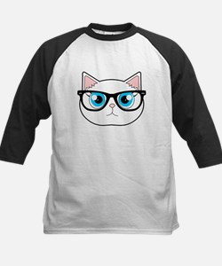Cute Hipster Cat with Glasses Baseball Jersey
