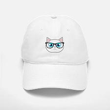 Cute Hipster Cat with Glasses Baseball Baseball Baseball Cap