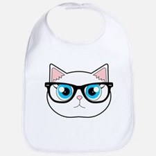 Cute Hipster Cat with Glasses Bib