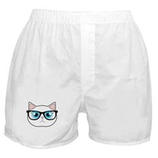 Cute Hipster Cat with Glasses Boxer Shorts