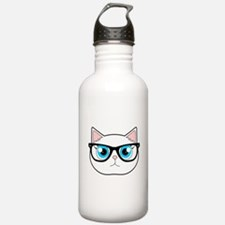 Cute Hipster Cat with Glasses Water Bottle