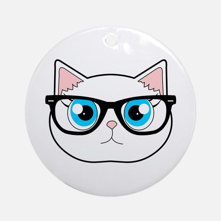 Cute Hipster Cat with Glasses Ornament (Round)