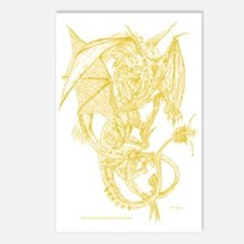 Golden Fighting Dragons Postcards (Package of 8)