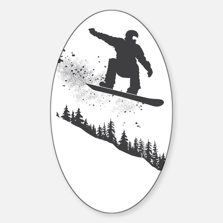 Snowboarder Sticker (Oval)