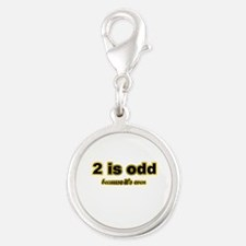 2 is odd Silver Round Charm