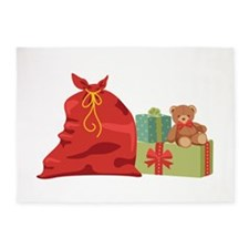 Santa Gifts Bag Bear 5'x7'Area Rug