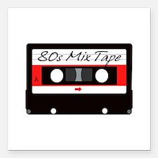 "80s Music Mix Tape Casse Square Car Magnet 3"" x 3"""