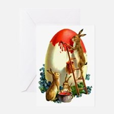 Easter rabbits painting Greeting Card