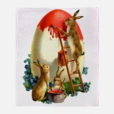 Easter rabbits painting Throw Blanket