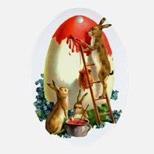 Easter rabbits painting Oval Ornament