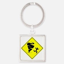 Funny Storm Chaser Tornado Warning Square Keychain