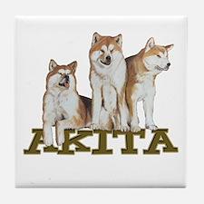 3 Akitas Tile Coaster