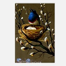 BLUE BIRD EASTER GREETING Postcards (Package of 8)