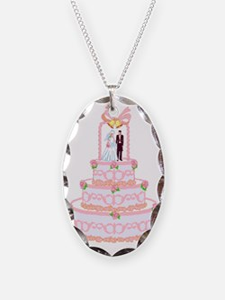 Pink Wedding Cake Bride and Gr Necklace