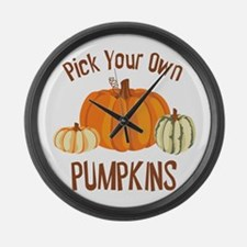 Pick Your Own Pumpkins Large Wall Clock