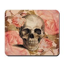 Vintage Rosa Skull Collage Mousepad