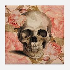 Vintage Rosa Skull Collage Tile Coaster
