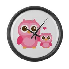 Mommy and Me, Cute Baby Owl, Pink Large Wall Clock