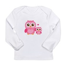 Mommy and Me, Cute Baby Owl, Pink Long Sleeve T-Sh