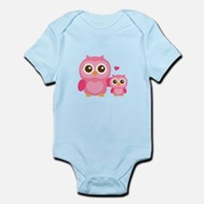 Mommy and Me, Cute Baby Owl, Pink Body Suit