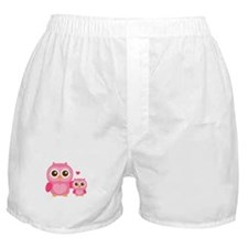 Mommy and Me, Cute Baby Owl, Pink Boxer Shorts