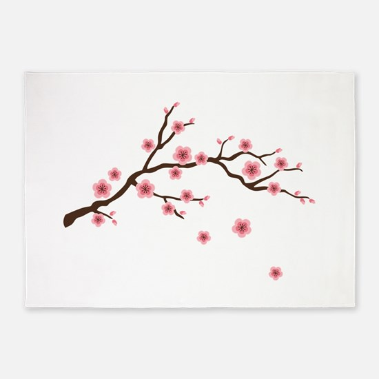 Cherry Blossom Flowers Branch 5'x7'Area Rug