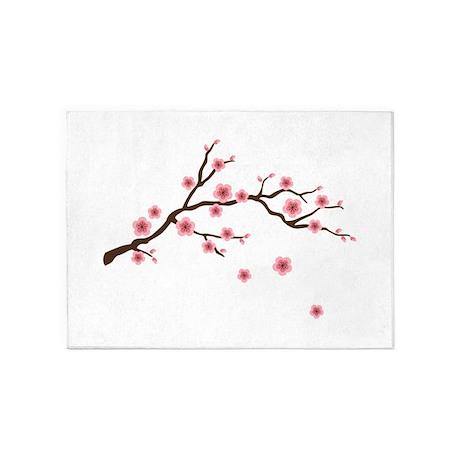 Cherry Blossom Flowers Branch 5u0027x7u0027Area Rug