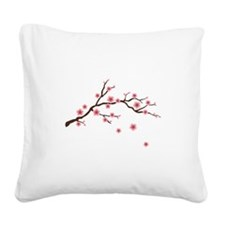 Cherry Blossom Flowers Branch Square Canvas Pillow