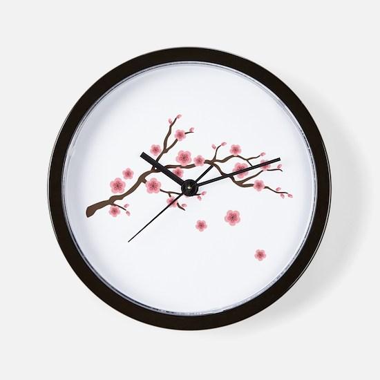 Cherry Blossom Flowers Branch Wall Clock