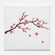 Cherry Blossom Flowers Branch Tile Coaster