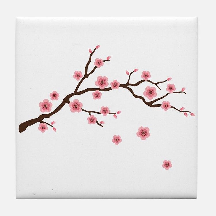 Cherry Blossom Flowers Branch Tile Coaster