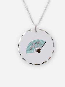 Oriental Paper Cherry Blossom Fan Necklace