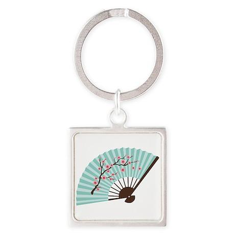 Oriental Paper Cherry Blossom Fan Keychains