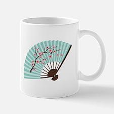 Oriental Paper Cherry Blossom Fan Mugs