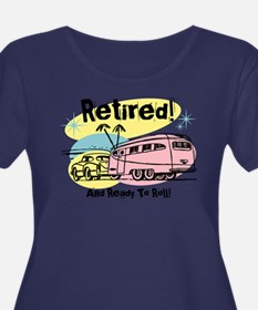 Retro Trailer Retired Dark Plus Size T-Shirt