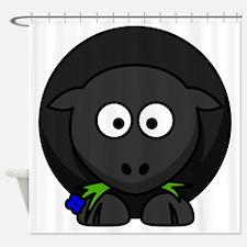 Cartoon Black Sheep Shower Curtain