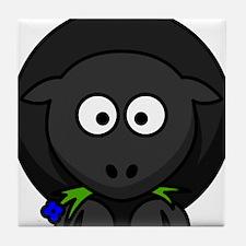 Cartoon Black Sheep Tile Coaster