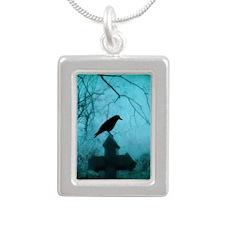 Blue Mist Silver Portrait Necklace