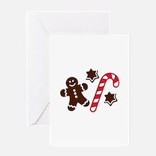 Lebkuchen man candy cane Greeting Card