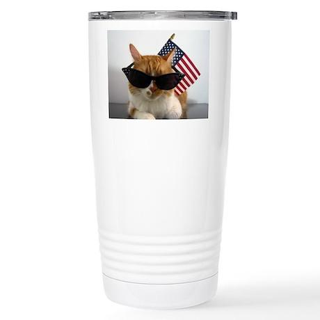 Cool Cat with American Flag Travel Mug
