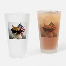 Cool Cat with American Flag Drinking Glass