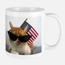 Cool Cat with American Flag Mugs
