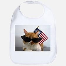 Cool Cat with American Flag Bib