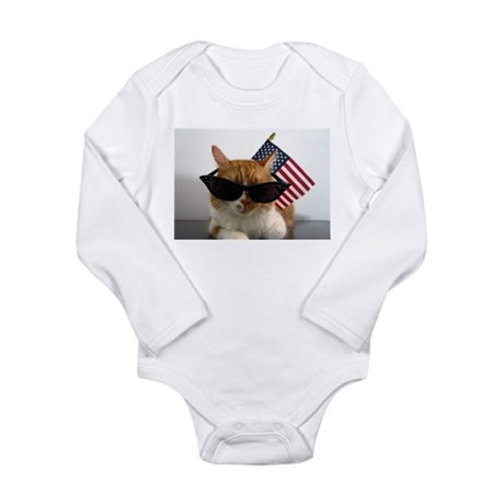 Cool Cat with American Flag Body Suit