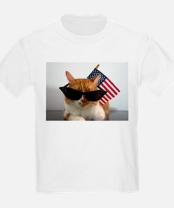 Cool Cat with American Flag T-Shirt