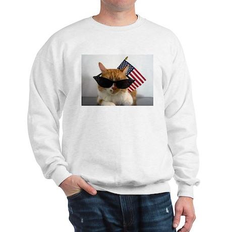 Cool Cat with American Flag Sweatshirt
