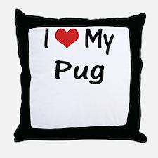 I Heart My Pug Throw Pillow