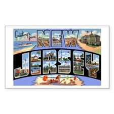 New Jersey Greetings Rectangle Decal